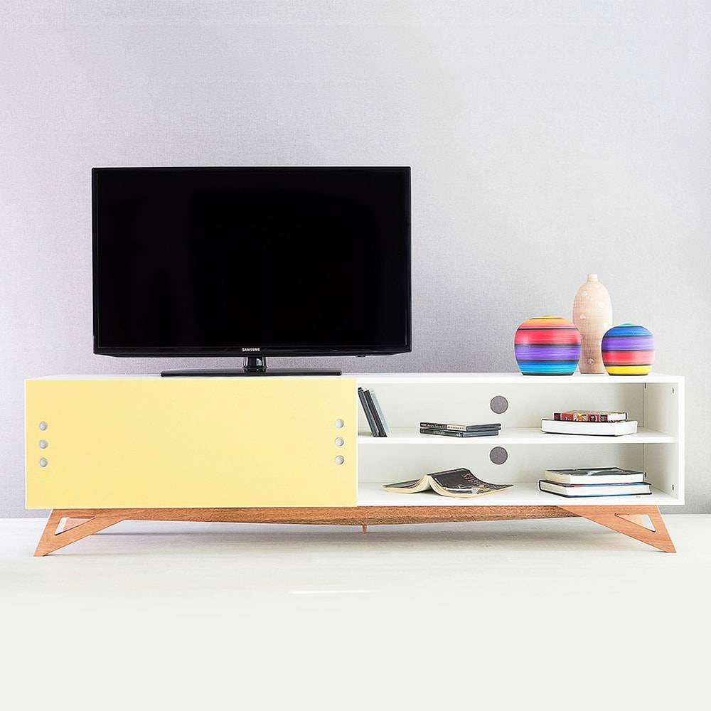 Rack para TV Freddie Extreme Branco com Porta de Correr Amarela em MDF - 180x48,5 cm