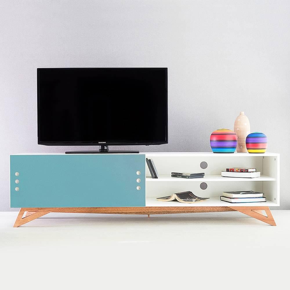 Rack para TV Freddie Extreme Branco com Porta de Correr Azul em MDF - 180x48,5 cm