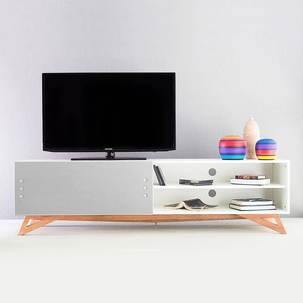 Rack para TV Freddie Extreme Branco com Porta de Correr Cinza em MDF - 180x48,5 cm