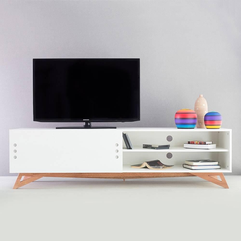 Rack para TV Freddie Extreme Branco com Porta de Correr em MDF - 180x48,5 cm