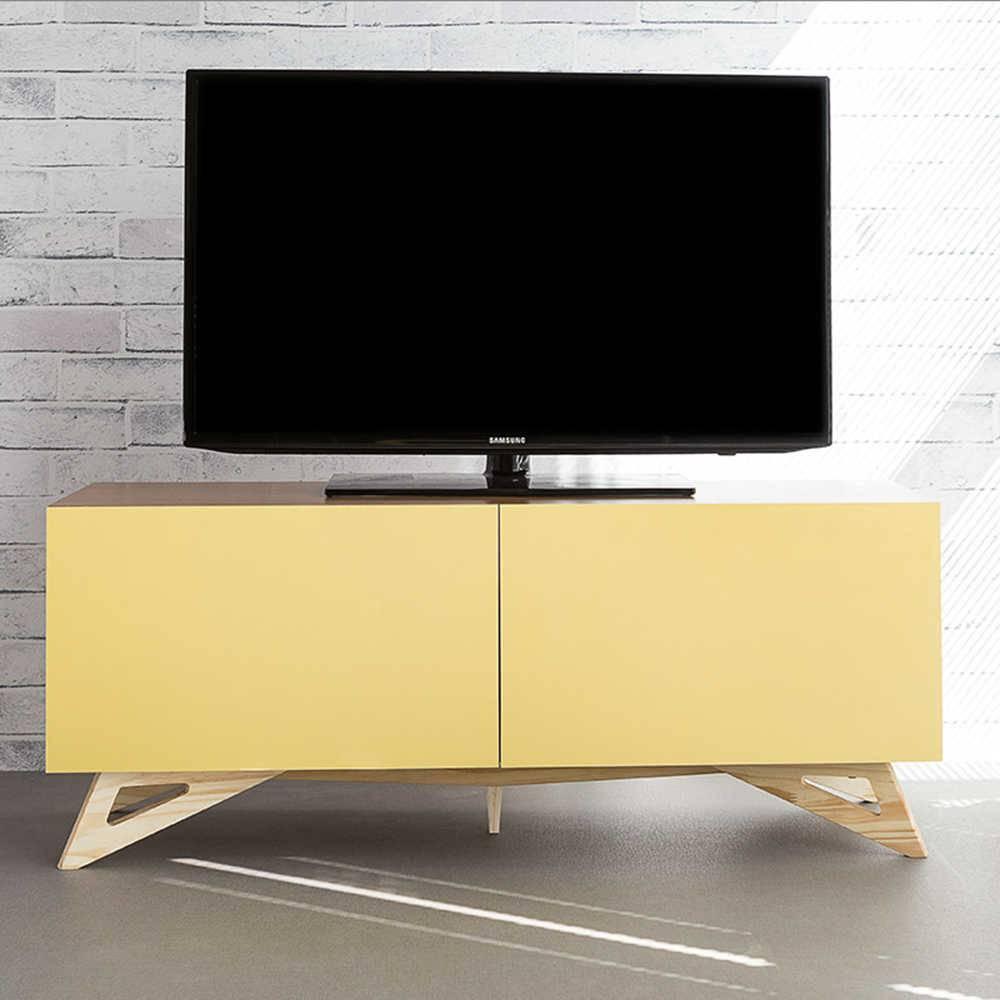 Rack para TV Freddie Freijó com 2 Portas Amarelas em MDF - 120x48,5 cm