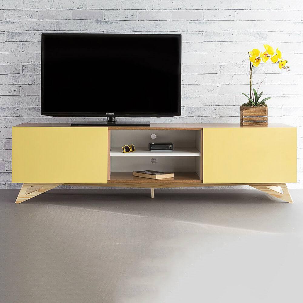 Rack para TV Freddie Freijó com 2 Portas Amarelas em MDF - 180x48,5 cm