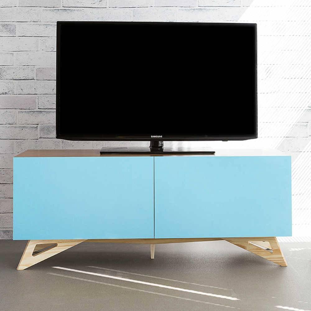 Rack para TV Freddie Freijó com 2 Portas Azul Celeste em MDF - 120x48,5 cm