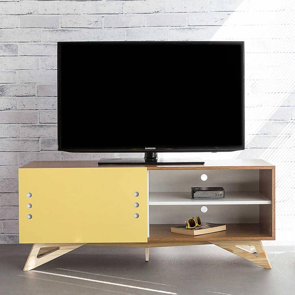 Rack para TV Freddie Freijó com Porta de Correr Amarela em MDF - 120x48,5 cm