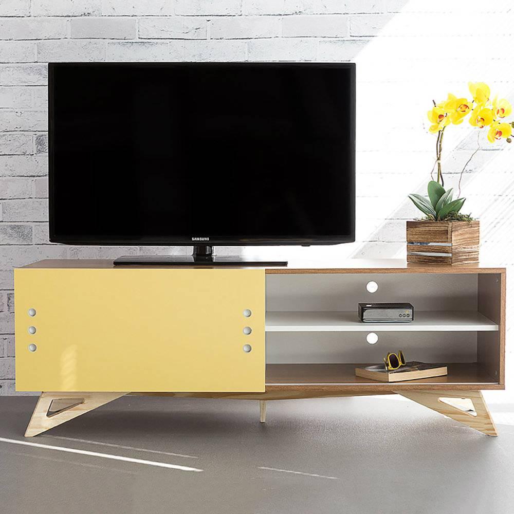 Rack para TV Freddie Freijó com Porta de Correr Amarela em MDF - 140x48,5 cm