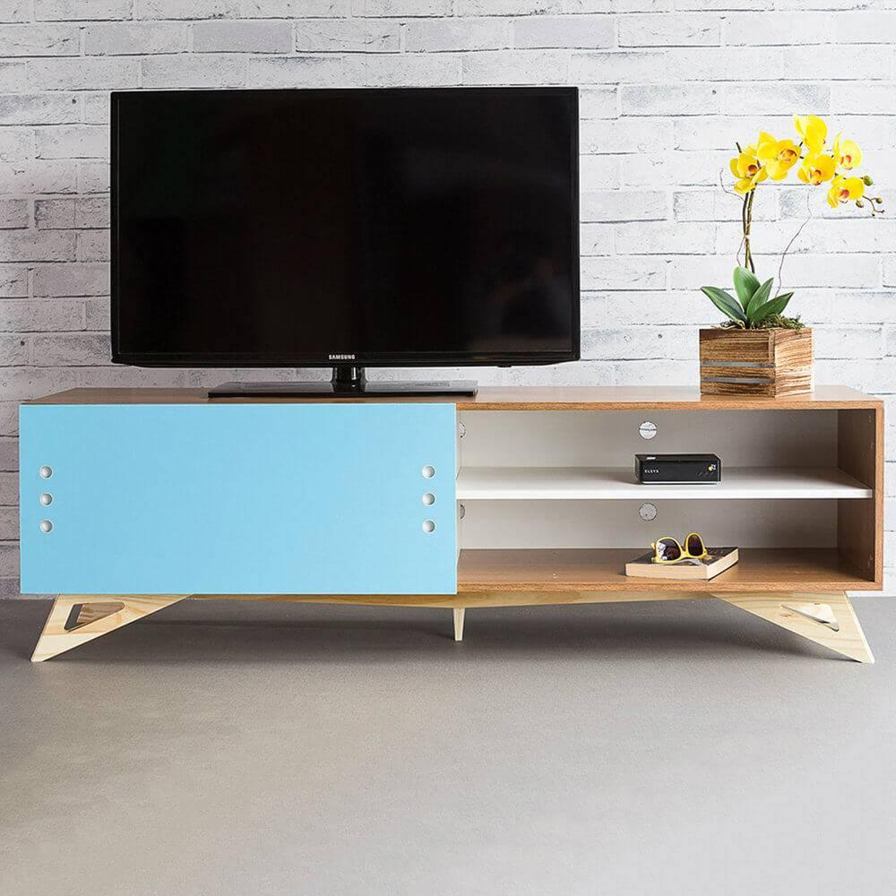 Rack para TV Freddie Freijó com Porta de Correr Azul Celeste em MDF - 160x48,5 cm