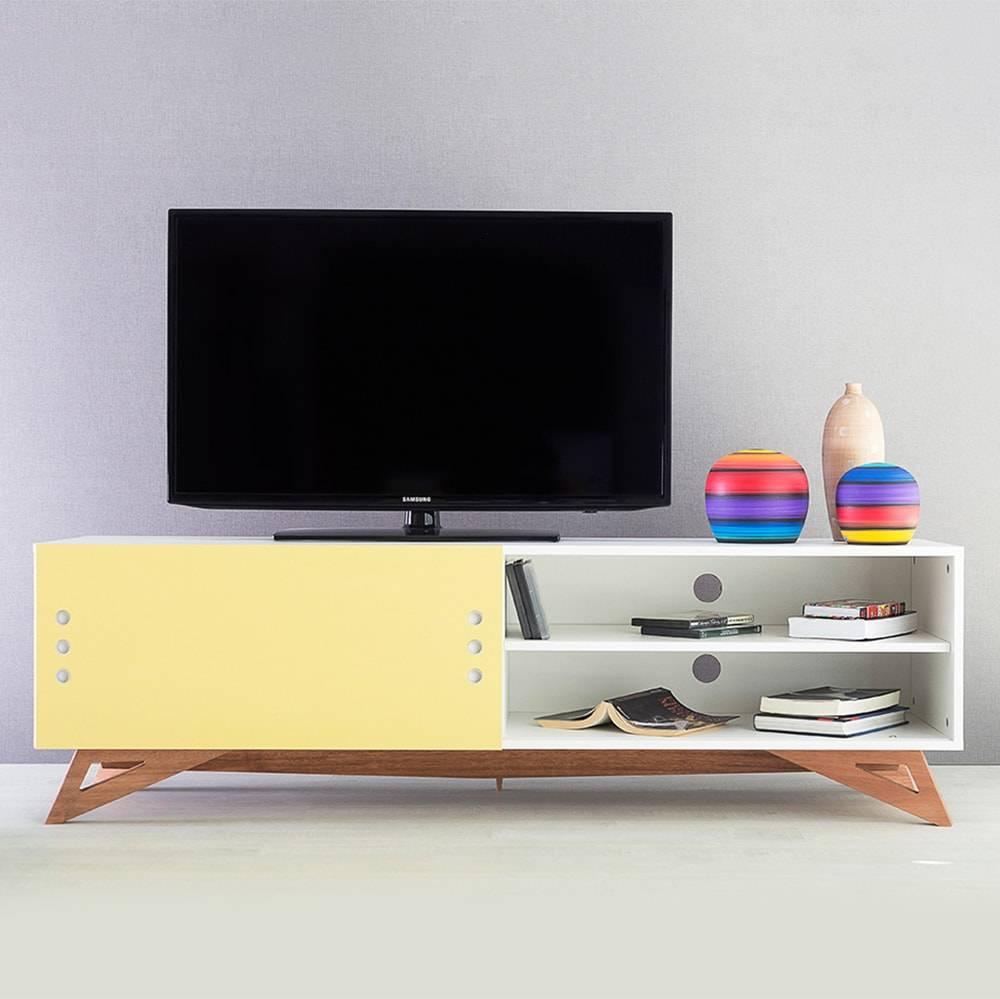 Rack para TV Freddie Longilíneo Branco com Porta de Correr Amarelo em MDF - 160x48,5 cm