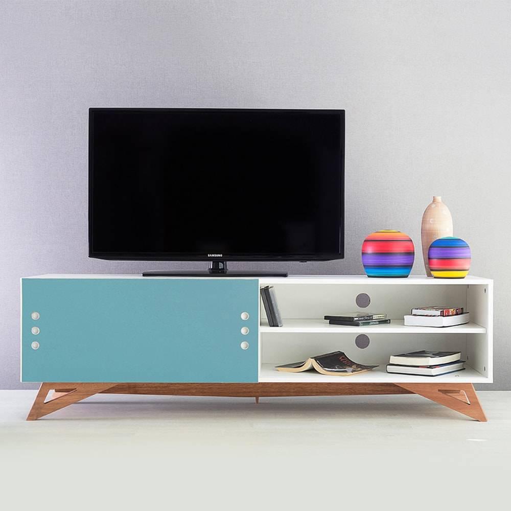 Rack para TV Freddie Longilíneo Branco com Porta de Correr Azul em MDF - 160x48,5 cm