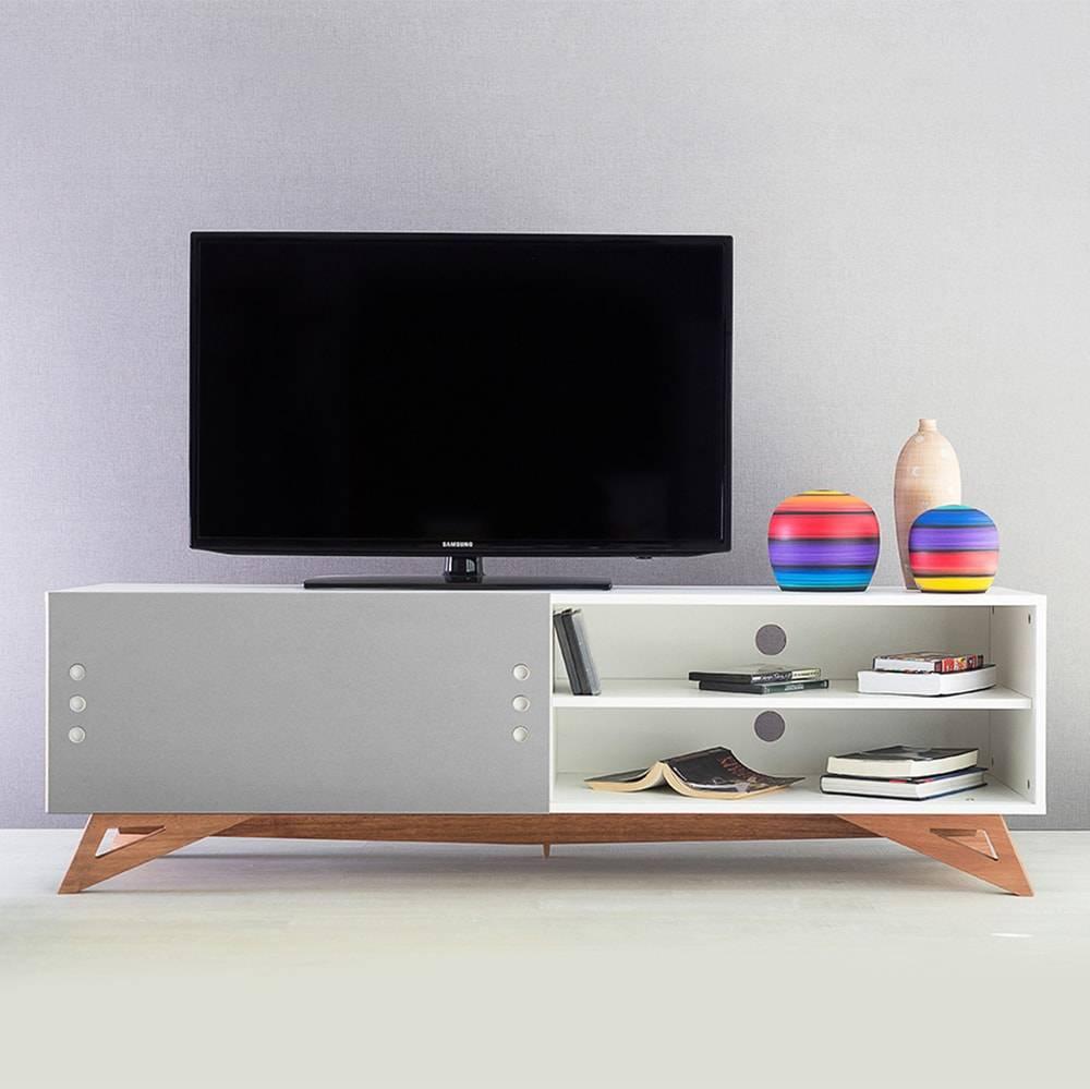 Rack para TV Freddie Longilíneo Branco com Porta de Correr Cinza em MDF - 160x48,5 cm