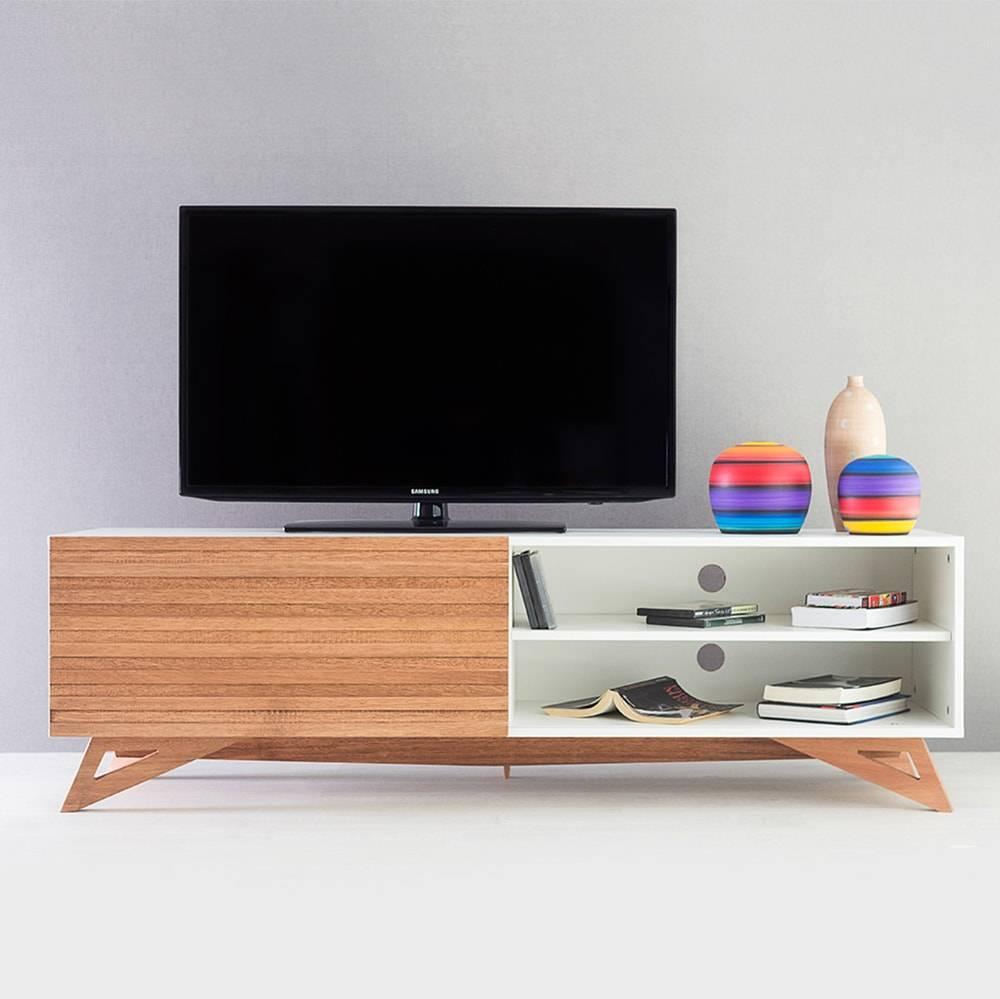 Rack para TV Freddie Longilíneo Branco com Porta de Correr Jatobá em MDF - 160x48,5 cm