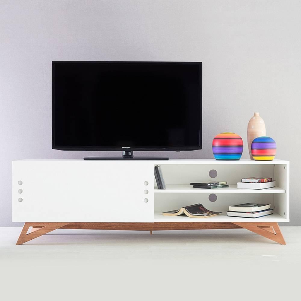 Rack para TV Freddie Longilíneo Branco com Porta de Correr em MDF - 160x48,5 cm