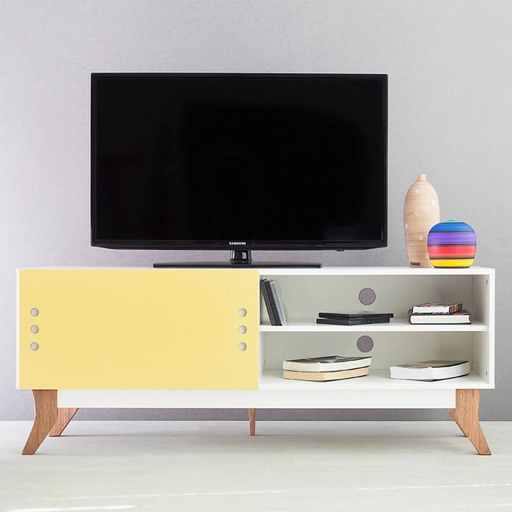 Rack para TV Vintage Branco com Portas de Correr Amarela em MDF - 140x48,5 cm