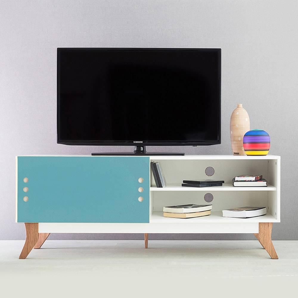 Rack para TV Vintage Branco com Portas de Correr Azul em MDF - 140x48,5 cm