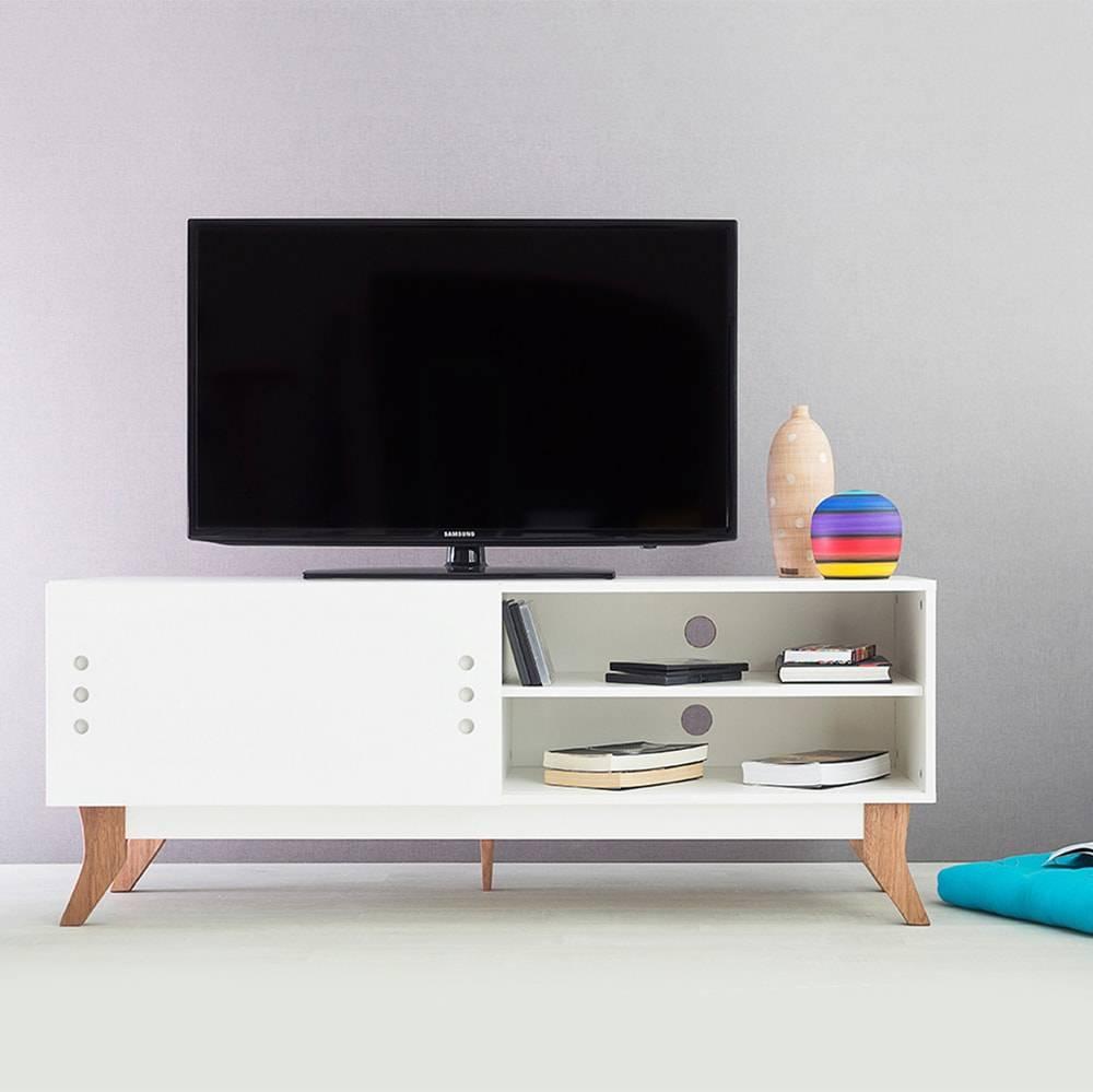 Rack para TV Vintage Branco com Portas de Correr Branca em MDF - 140x48,5 cm
