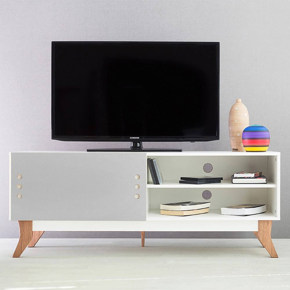 Rack para TV Vintage Branco com Portas de Correr Cinza em MDF - 140x48,5 cm