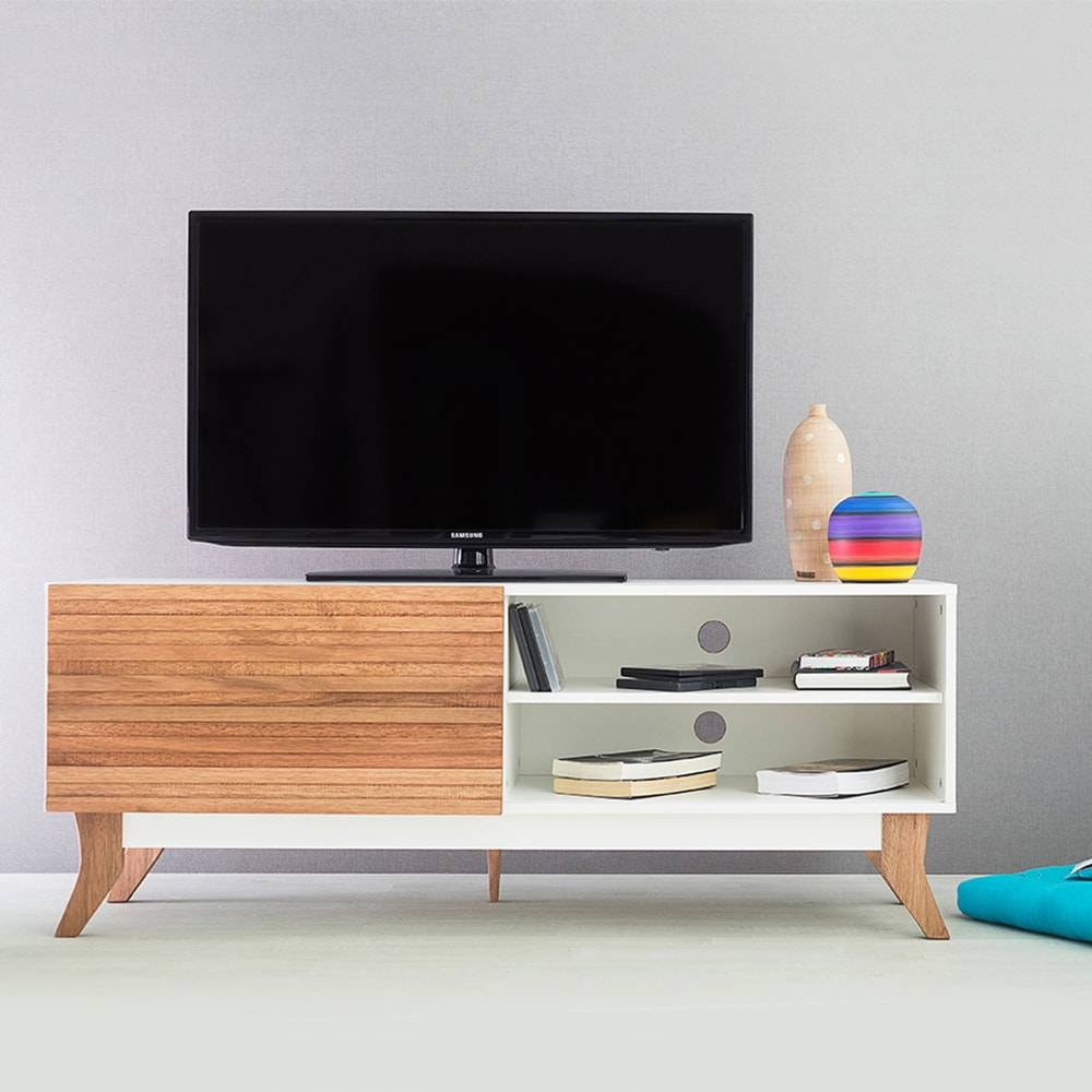 Rack para TV Vintage Branco com Portas de Correr Jatobá em MDF - 140x48,5 cm