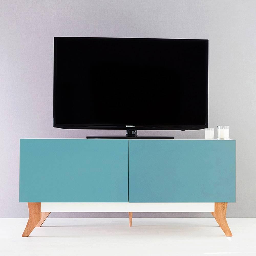 Rack para TV Vintage Compact Branco com 2 Portas Azul em MDF - 120x48,5 cm