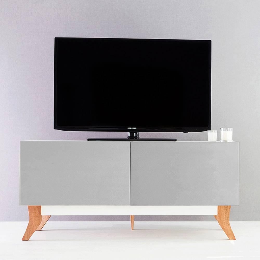 Rack para TV Vintage Compact Branco com 2 Portas Cinza em MDF - 120x48,5 cm
