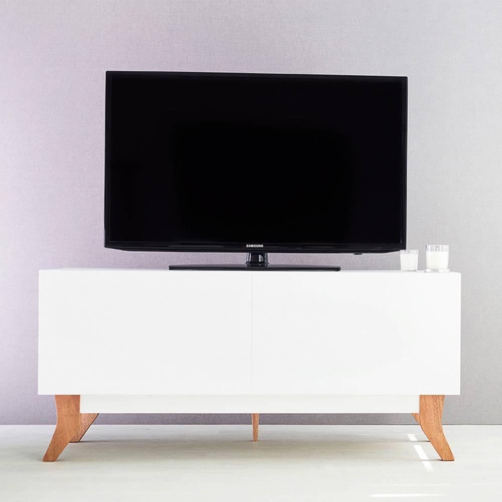 Rack para TV Vintage Compact Branco com 2 Portas em MDF - 120x48,5 cm