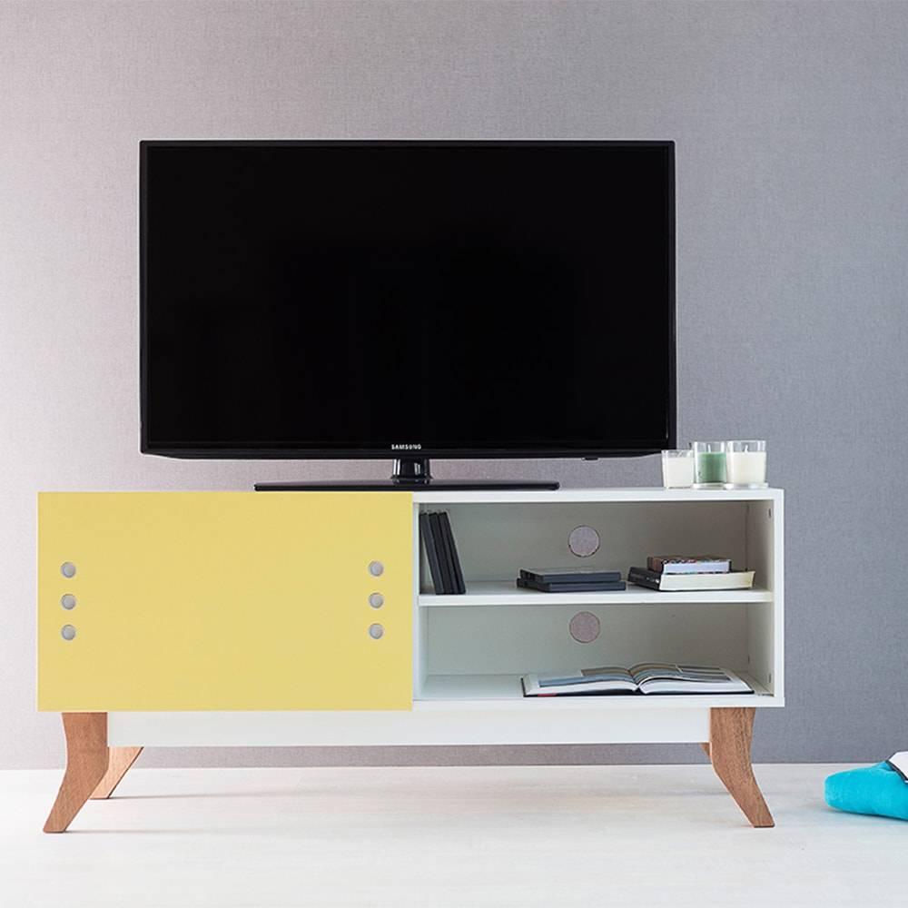 Rack para TV Vintage Compact Branco com Portas de Correr Amarela em MDF - 120x48,5 cm