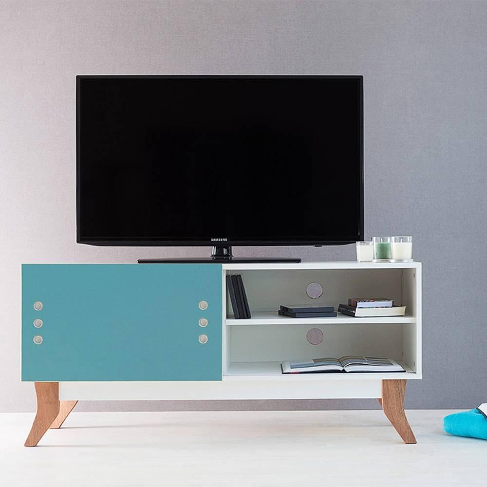 Rack para TV Vintage Compact Branco com Portas de Correr Azul em MDF - 120x48,5 cm