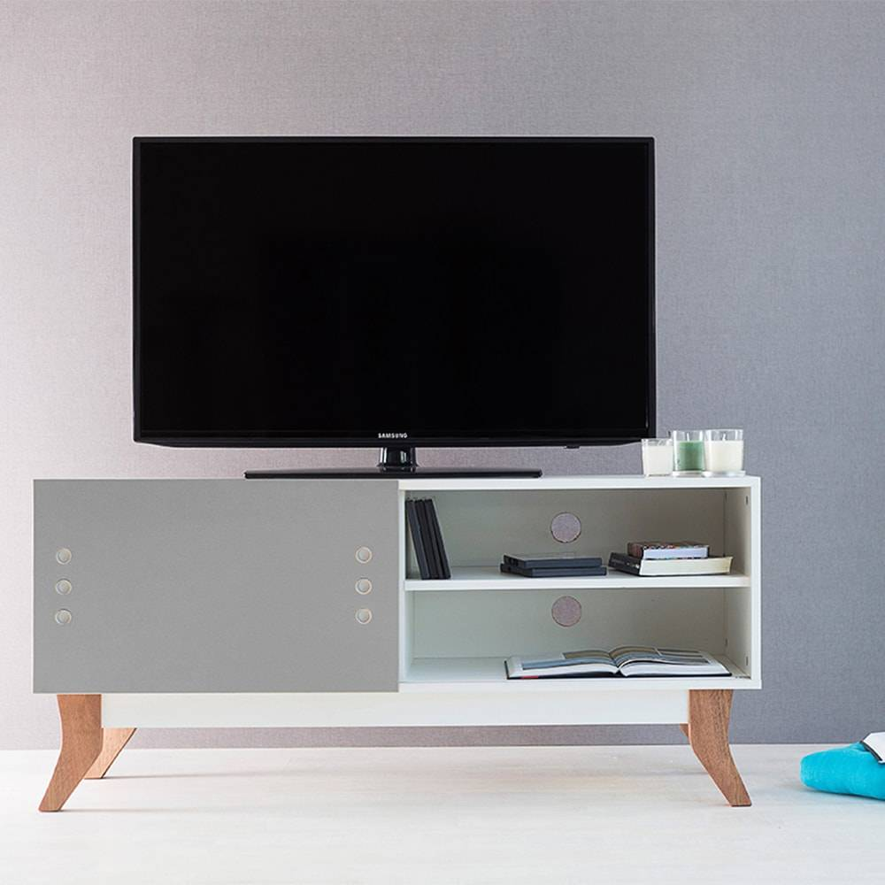 Rack para TV Vintage Compact Branco com Portas de Correr Cinza em MDF - 120x48,5 cm