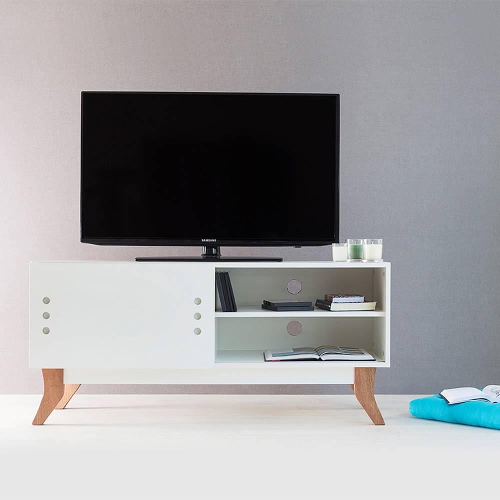 Rack para TV Vintage Compact Branco com Portas de Correr em MDF - 120x48,5 cm