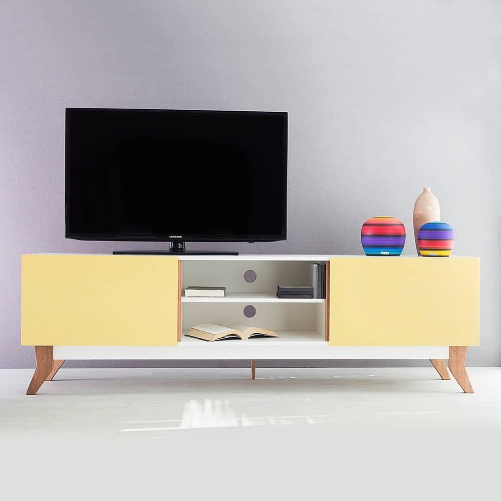 Rack para TV Vintage Extreme Branco com 2 Portas Amarela em MDF - 180x48,5 cm