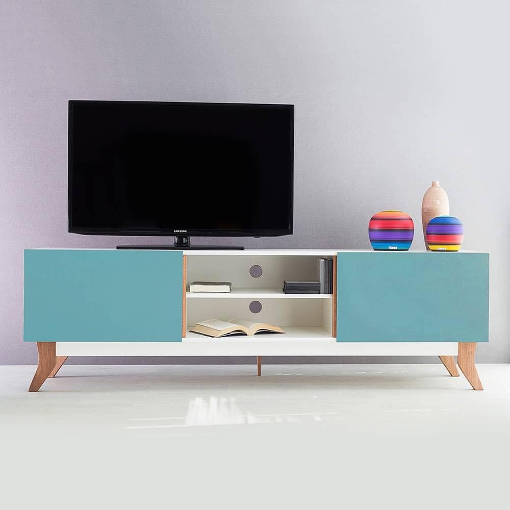 Rack para TV Vintage Extreme Branco com 2 Portas Azul em MDF - 180x48,5 cm