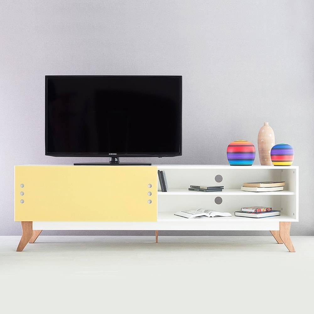 Rack para TV Vintage Extreme Branco com Portas de Correr Amarela em MDF - 180x48,5 cm
