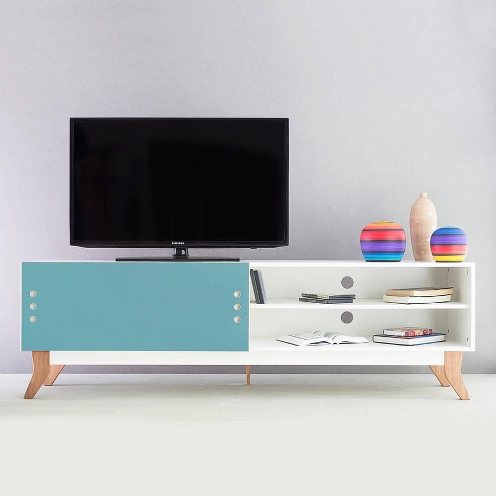 Rack para TV Vintage Extreme Branco com Portas de Correr Azul em MDF - 180x48,5 cm