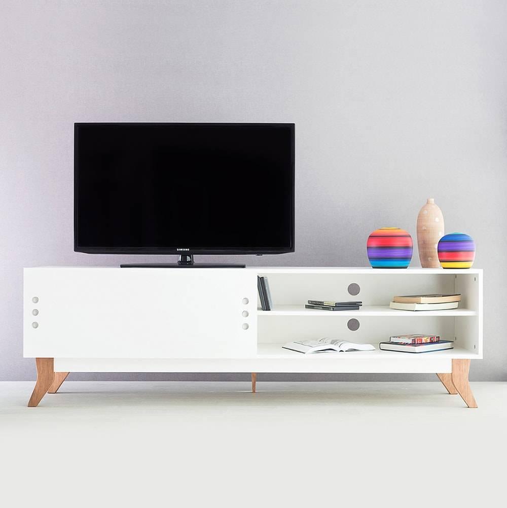 Rack para TV Vintage Extreme Branco com Portas de Correr em MDF - 180x48,5 cm