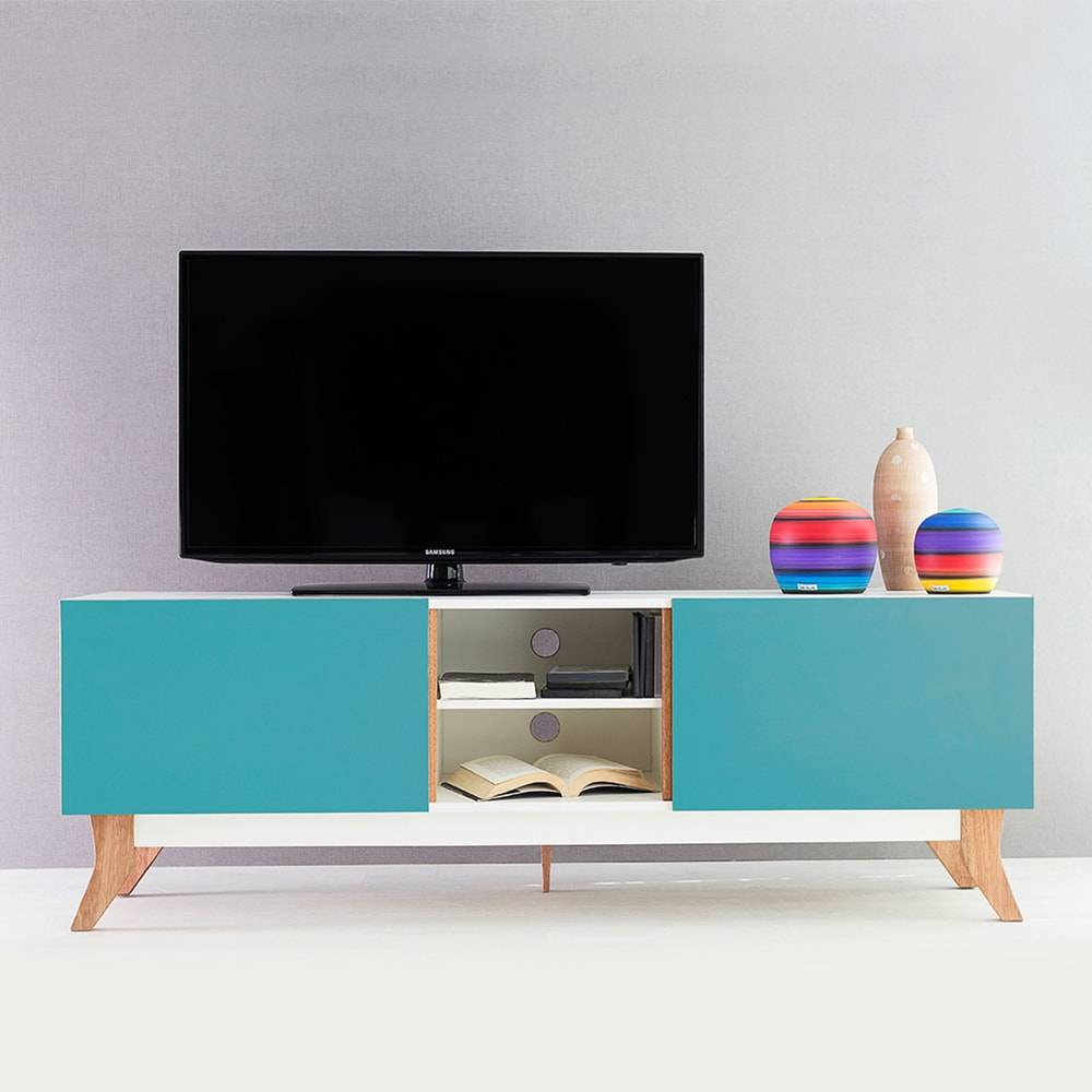 Rack para TV Vintage Longilíneo Branco com 2 Portas Azul em MDF - 160x48,5 cm