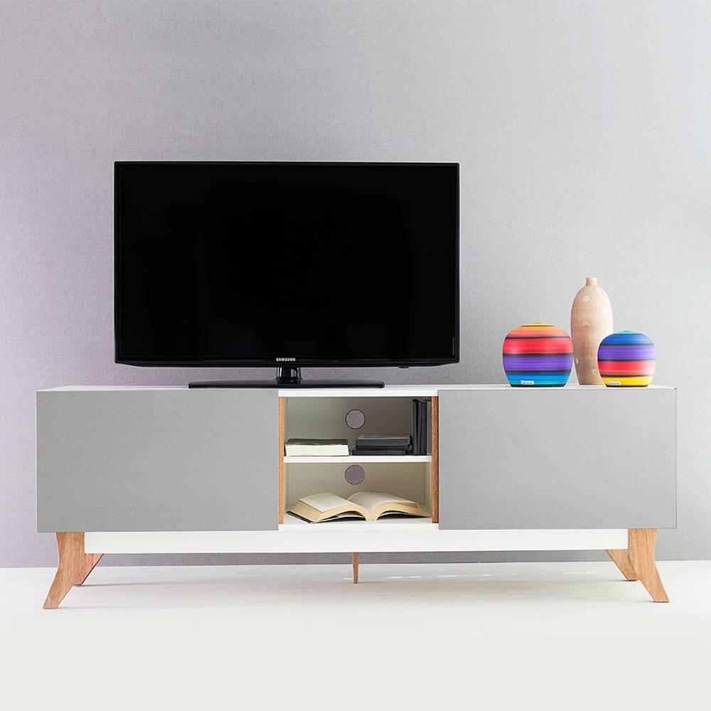 Rack para TV Vintage Longilíneo Branco com 2 Portas Cinza em MDF - 160x48,5 cm