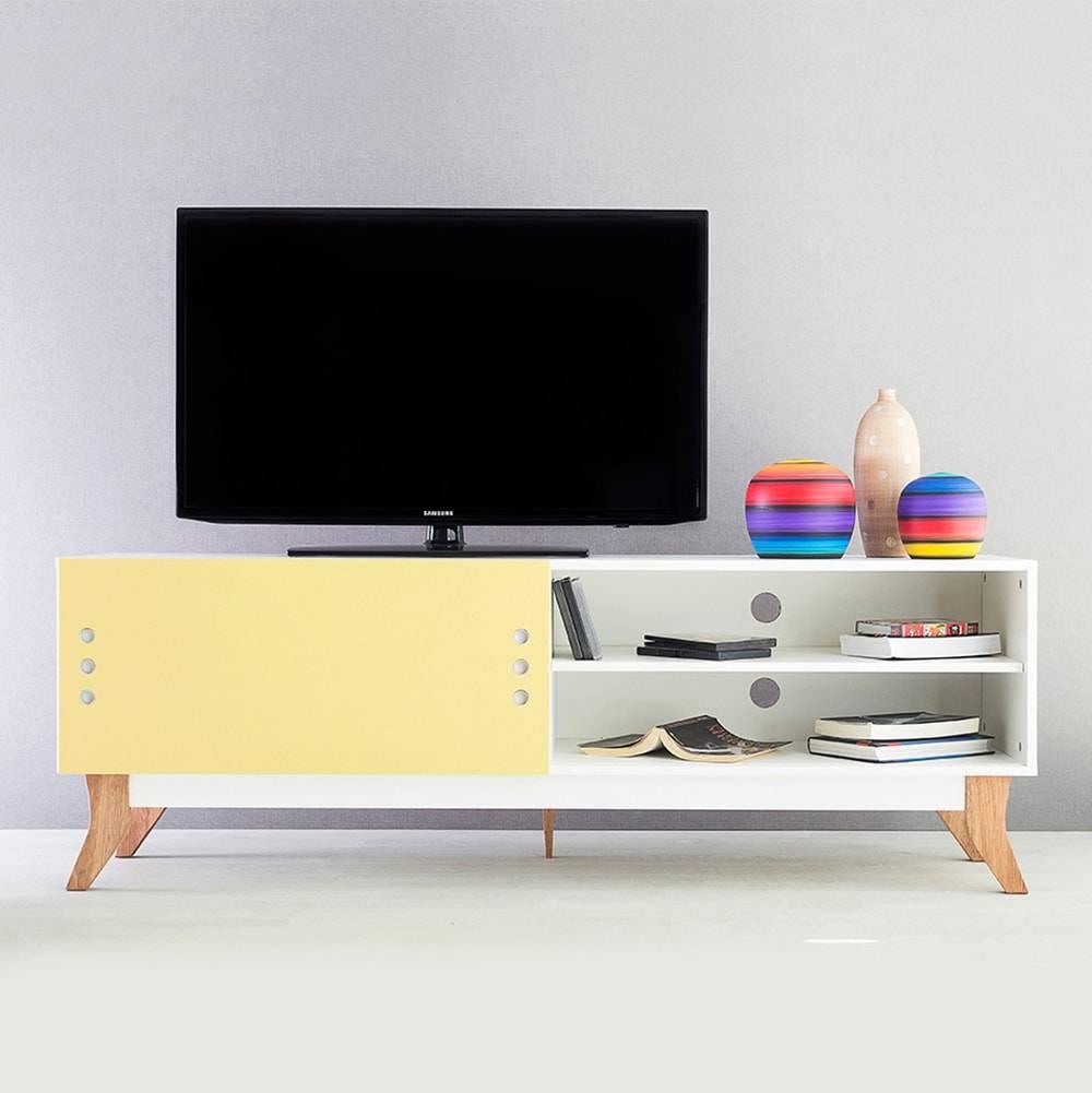 Rack para TV Vintage Longilíneo Branco com Portas de Correr Amarela em MDF - 160x48,5 cm