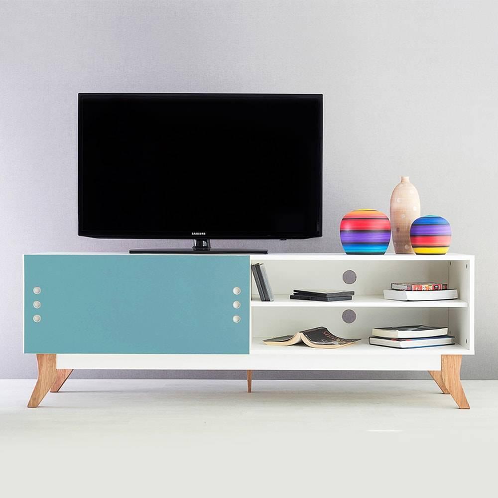 Rack para TV Vintage Longilíneo Branco com Portas de Correr Azul em MDF - 160x48,5 cm