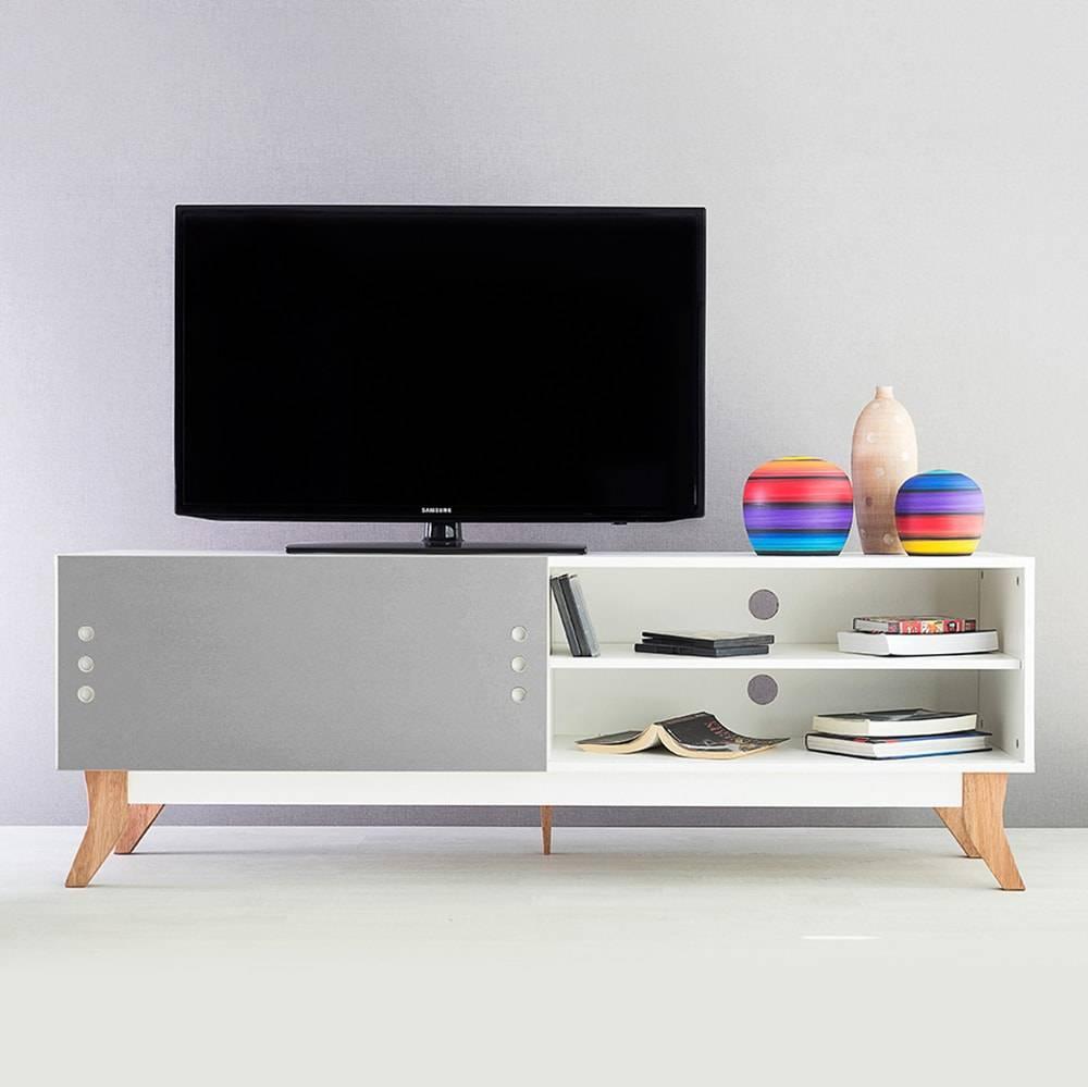 Rack para TV Vintage Longilíneo Branco com Portas de Correr Cinza em MDF - 160x48,5 cm