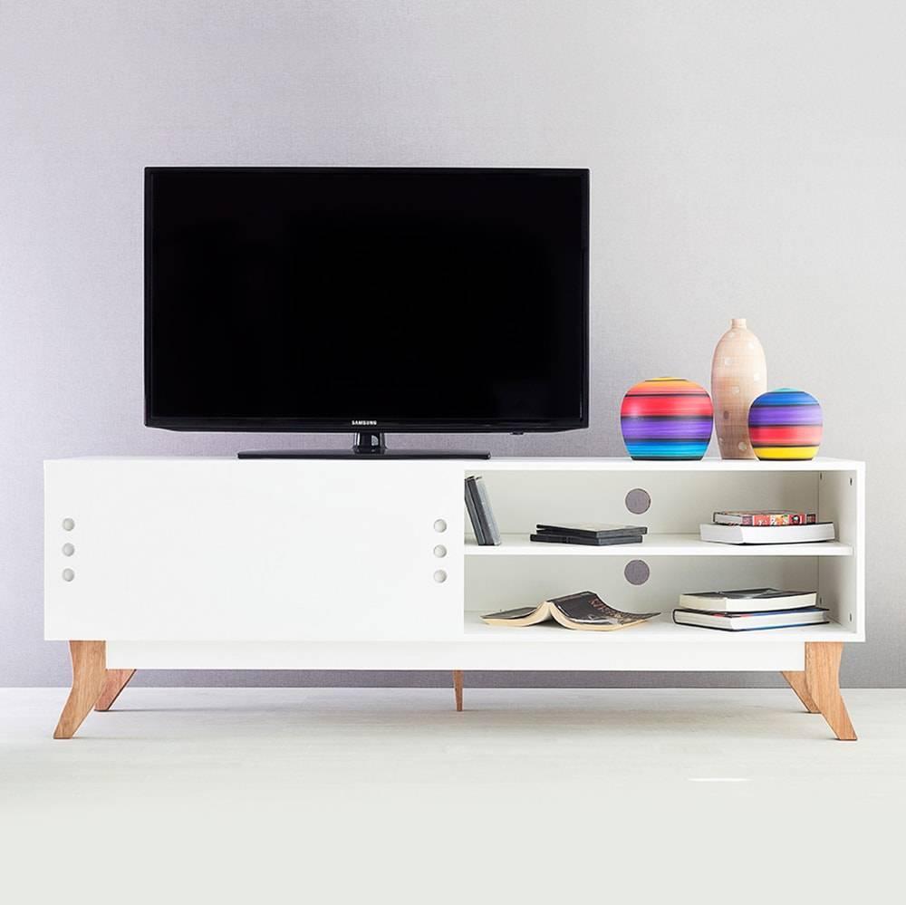 Rack para TV Vintage Longilíneo Branco com Portas de Correr em MDF - 160x48,5 cm