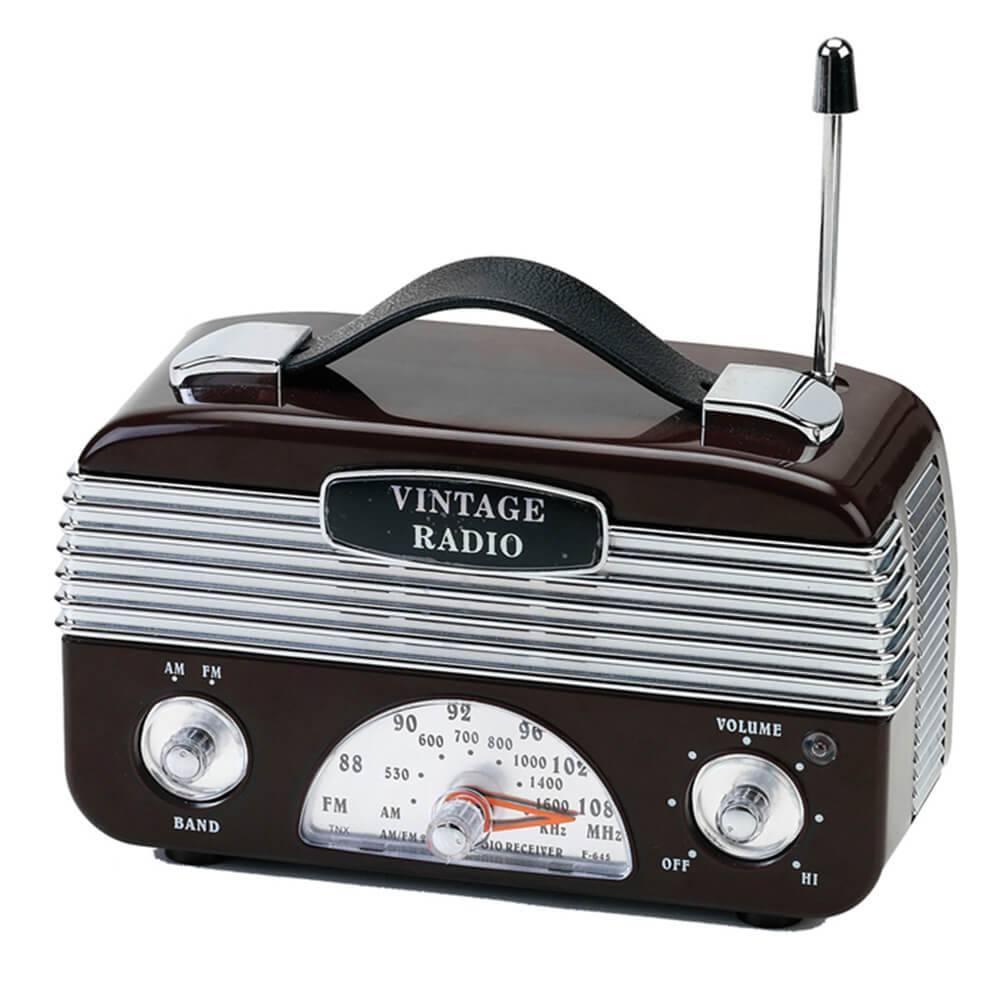 Rádio AM/FM Vintage Marrom - Urban - 17,5x13 cm