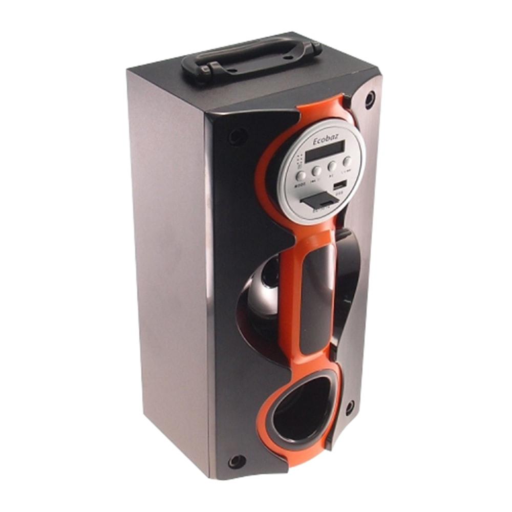 Rádio Amplificador Laranja e Preto - Cartão SD/ USB / FM / MP3 - 37x17 cm