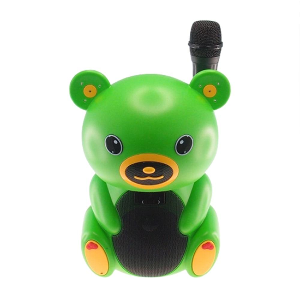 Rádio Amplificador Urso Verde com Microfone - Cartão SD/ USB/ MP3 - 30x20 cm
