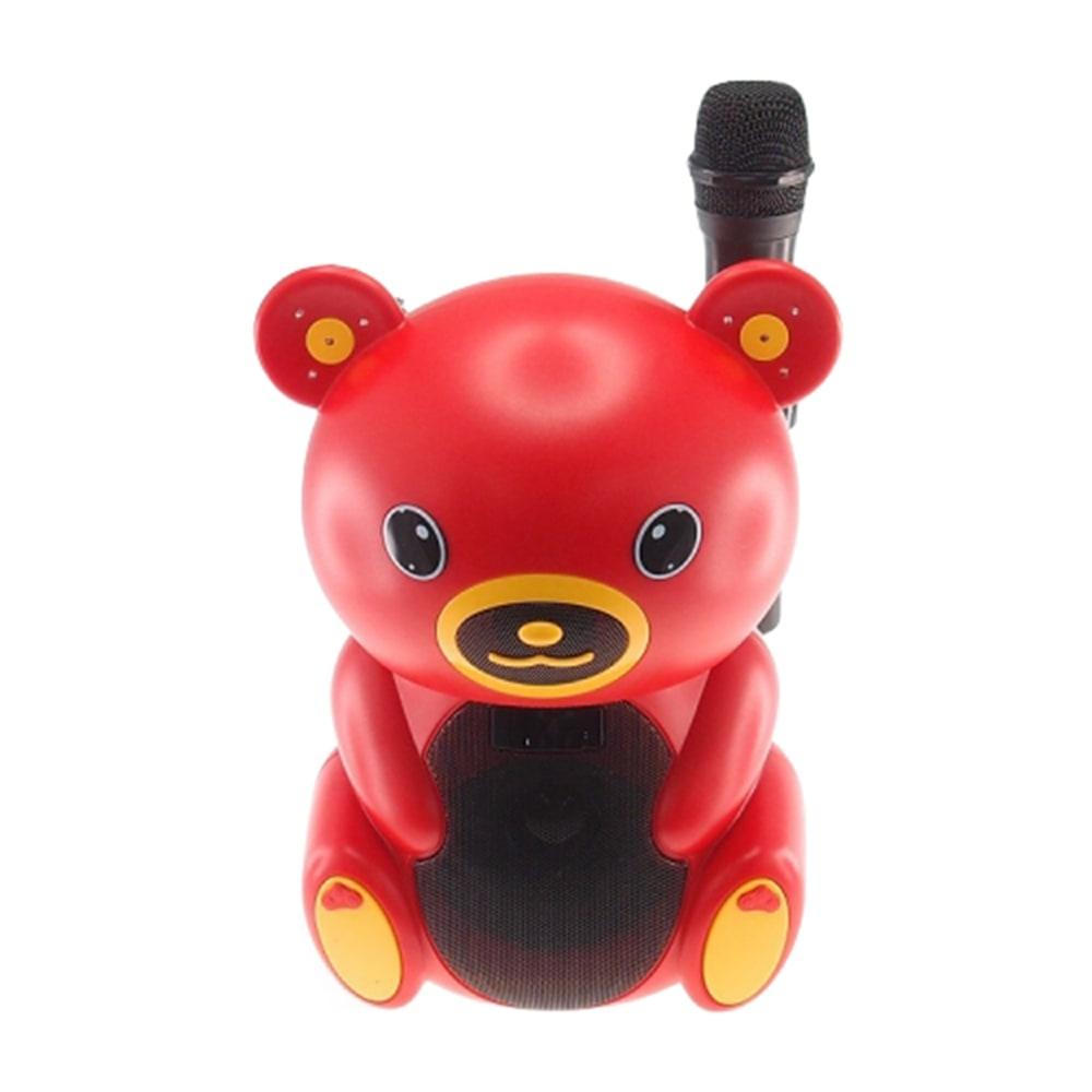 Rádio Amplificador Urso Vermelho com Microfone - USB/ Cartão SD/ MP3 - 30x20 cm