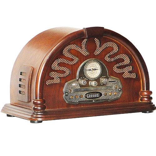 Rádio Capela Marrom Oldway Bivolt - CD/ USB/ MP3/ SD - em MDF - 46x31 cm