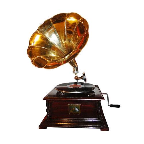 Rádio Gramaphone Decorativo Horn Dourado Oldway em Madeira - 70x46 cm
