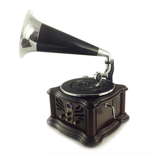 Rádio Gramofone Tabaco Oldway - CD/ MP3/ USB/ VINIL - Bivolt em Madeira - 64x45 cm