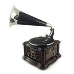 Rádio Gramofone Tabaco - CD/ MP3/ USB/ VINIL - em Madeira