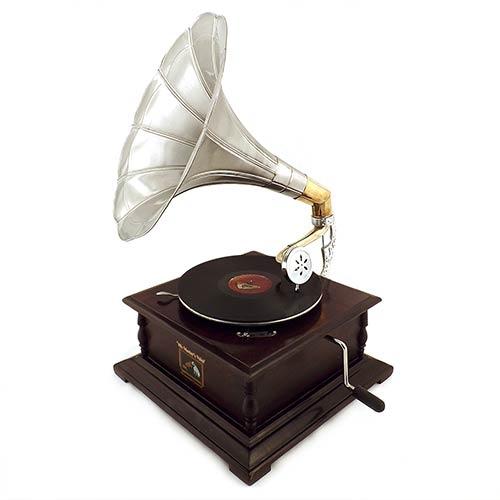 Rádio Gramofone Decorativo Marrom Oldway em Madeira - 70x46 cm