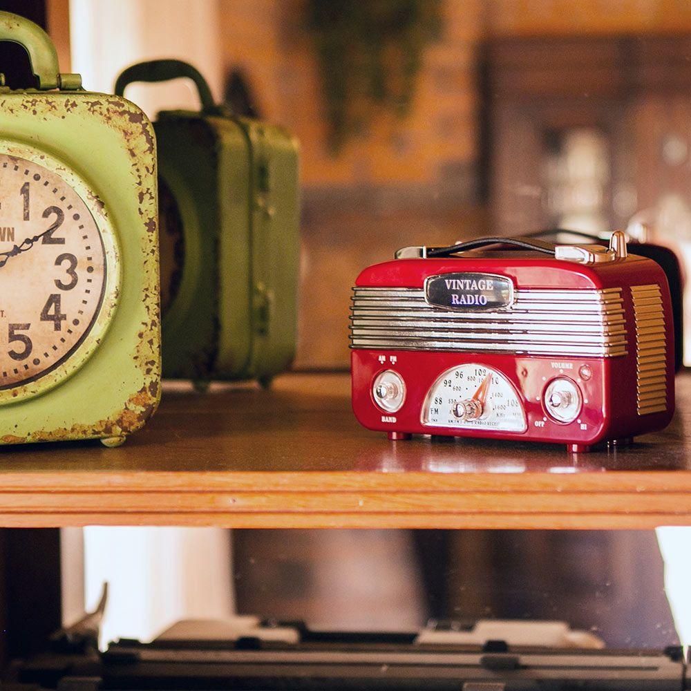 Rádio Portátil Decorativo Vintage Vermelho - 18x10 cm