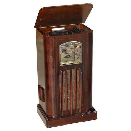 Rádio Rack Nogueira Marrom Oldway - CD/ MP3/ Vinil/ Fita Cassete - em Madeira - 98x58 cm
