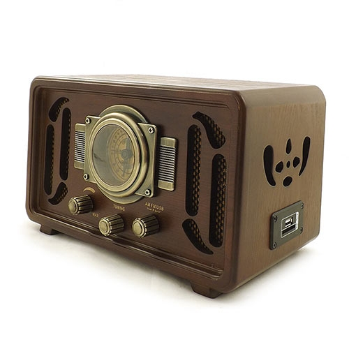 Radio Retrô Marrom Oldway - MP3/ USB/ SDCARD - Bivolt em Madeira - 30x18 cm